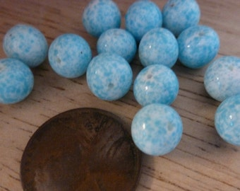 24 Vintage Japanese Mottled Robin's Egg Blue Glass Beads C31