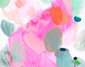 NEW! abstract fine art print . pink n aqua . a4 - a2, three sizes . free shipping within australia