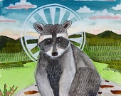 "Raccoon Icon - Original Watercolor Painting - Framed 9"" X 11"""