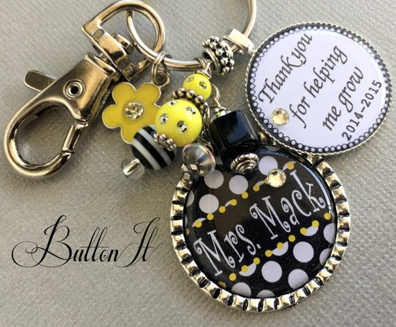 Teacher Gift PERSONALIZED charm Keychain Thank you for helping me grow, end of year gift Daycare, Preschool, babysitter, rhinestone apple
