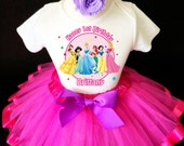 Snow White Princess Belle Jasmine Snow White Ariel Pink 1st First Girl Birthday Tutu Outfit Custom Personalized Name Age Party Shirt Set