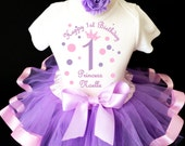 Princess crown light pink purple lavender polka dots 1st First Girl Birthday Tutu Outfit Personalized Custom Name Age Party Shirt Set