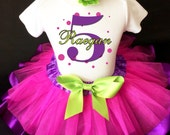 Purple Hot Pink Green Black Polka dots dotted Monogram Girl Birthday Tutu Outfit Custom Personalized Name Age Party Shirt Set