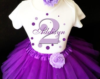Lavender Purple Polka Dots Dotted Bubbles Monogram 2nd Second Girl Birthday Tutu Outfit Custom Personalized Name Age Party Shirt Set