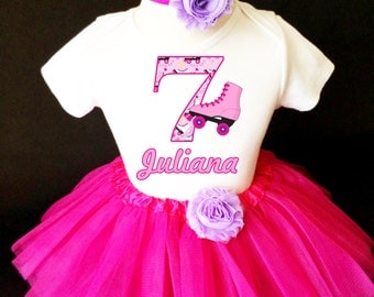 Roller Skate Skating Purple Hot Pink 7th Seventh Girl Birthday Tutu Outfit Personalized Custom Name Age Party Shirt Set