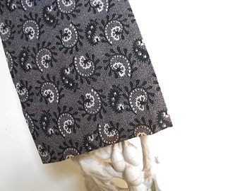 SALE Charcoal paisley pocket square, selvedge handkerchief, blck grey - eco vintage fabric in the 19th c. manner