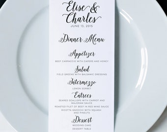Wedding Menus, Printed Dinner Menus, Wedding Menu Cards, Wedding Reception Menu, Wedding Decor, Modern Calligraphy Menu, Napkin Menu Insert