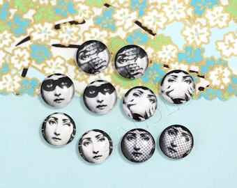 10pcs handmade assorted Fornasetti woman face round clear glass dome cabochons / Wooden earring stud 12mm (12-0104)