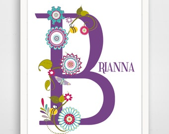 Personalized Children's Wall Art / Nursery Purple Floral Letter Custom Name  print by Finny and Zook