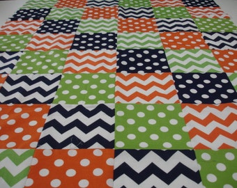 Chevrons and Dots in Navy Orange and Green Minky Blanket You Choose Size MADE TO ORDER No Batting