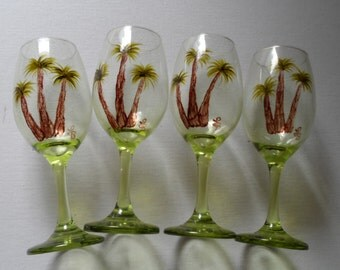 Palm Tree Wine Glasses Set of 4 Hand Painted Palm Tree Glasses