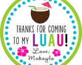 Luau / Hawaiian Party / summer / thank you STICKERS / Cupcake Topper / labels /Thank You Tag / various sizes