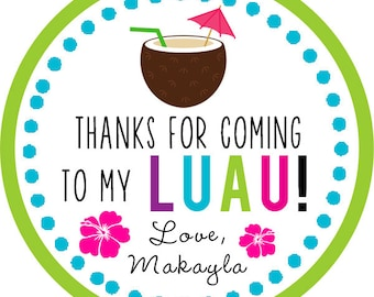 Luau / Hawaiian Party / summer Thank You PERSONALIZED Stickers, Tags, Labels, or Cupcake Toppers, various sizes, printed & shipped