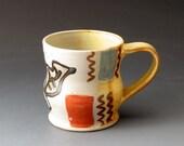 Coffee Cup, Handmade Ceramic Mug with Leaf Motif, Tea Cup, Coffee Mug, Drinking Vessel, Beverage