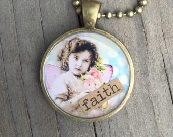 FAITH vintage image charm necklace