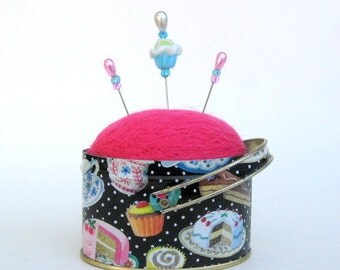SHOP CLOSING SALE - Pin Cushion - Needle Felted - In Fun Dessert Tin With Polka Dots - Cupcakes, Cakes, Tea Cups