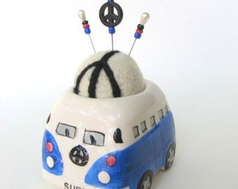 SHOP CLOSING SALE - vw Bus Love And Peace Pin Cushion - Needle Felted - Blue