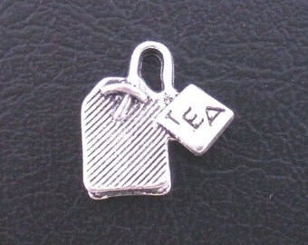 Antique Silver Tea Bag Charm Drop with Loop 15x15mm (6) ymc031A