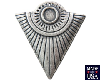 1 Hole Silver Ox Triangle Tribal Pendant with 6mm Setting (4) mtl367H