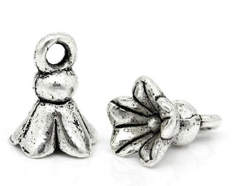 Antique Silver Flower Charm Drop with Loop 11x8mm (10) ymc097A