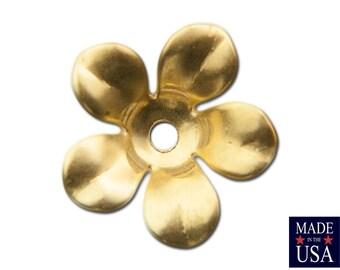 Raw Brass Cupped Flower Bead Cap 12mm (8) mtl263A