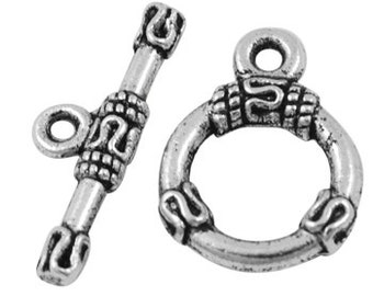 Tribal Serpentine Top Antiqued Silver Toggles (10 Sets) tog010A