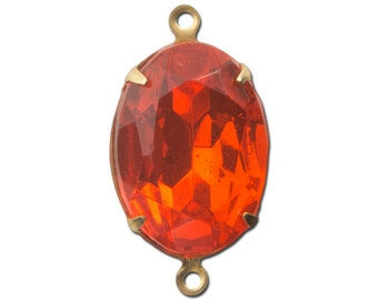 Vintage Faceted Hyacinth Orange Glass Stone in 2 Loop Brass Setting ovl003AB2