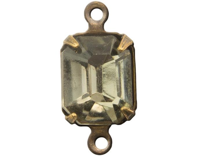 Faceted Black Diamond Glass Stone 2 Loop Brass Ox Setting 10x8mm squ016V2
