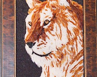 Stained Glass Mosaic Tile Wall Art - Golden Tiger