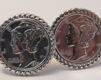 Sterling silver and Mercury dime cufflinks handmade in the USA