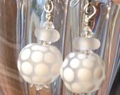 Satin Finish Polka Dots Lampwork Bead Earrings with Leverbacks Free Ship