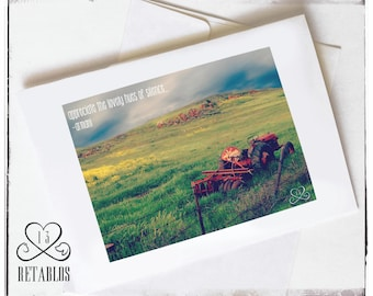 Proceeds to Animal Rescue, Nature Photo Greeting Card, Rustic Farm, Open Field, Red Tractor, Rusty Antique, Any Occasion, Blank