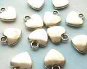 Silver Heart Charms - Set of 20 - 12mm Antique Silver Finish Metal Charms, Small Silver Hearts (SC0082)