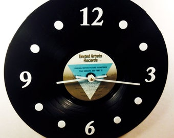 "Vinyl Record Clock, Wall Clock, Karate Kid Part II Record, Recycled Music Record, 12"" Record, Battery & Wall Hanger included, Item #23"