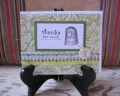 Handmade Card, Thank You Card, Thanks, For Her, Feminine, Green, Sewing,  Blank, Note Card, Shabby, Cottage, Greeting Card, ofg team