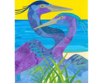 Collage Art Print - Two Herons - 8 x 10 or 10x13