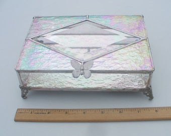 Large, Iridescent Clear Stained Glass Jewelry Box
