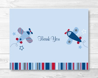 Airplane Thank You Card / Folded Card Template / Airplane Baby Shower / PRINTABLE Instant Download