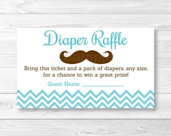 Mustache Diaper Raffle Tickets / Mustache Baby Shower / Little Man Shower /  Chevron Pattern /