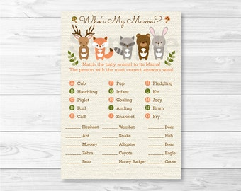 Woodland Forest Animal Match Baby Shower Game / Baby Animal Match / Who's My Mama / Gender Neutral / INSTANT DOWNLOAD