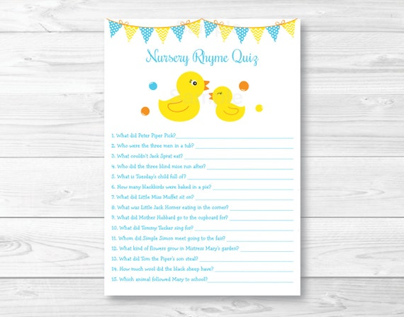 Voorkeur Cute Rubber Duck Nursery Rhyme Quiz / Rubber Duck Baby Shower  #YO32
