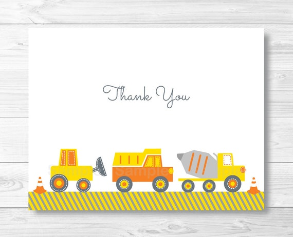 construction truck thank you card template    folded card