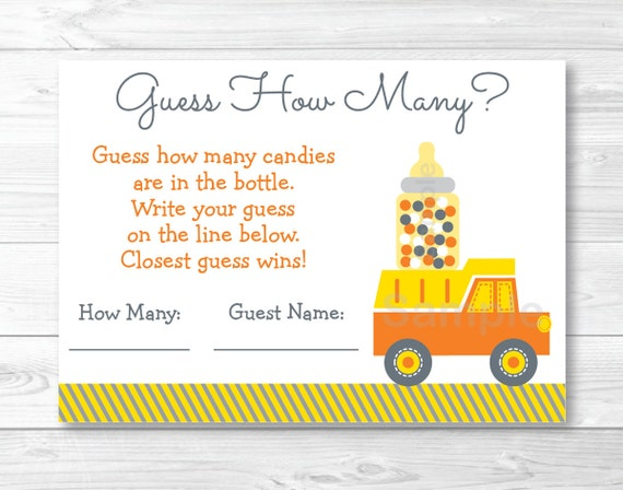 photograph regarding Guess Who Cards Printable identified as Facts above Yellow Structure Vehicles Printable Kid Shower \