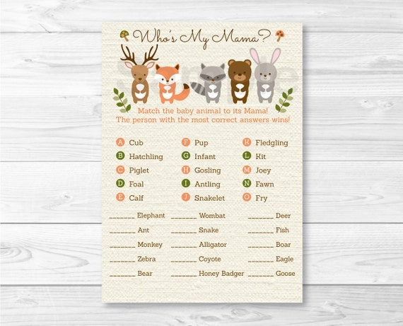 woodland forest animal match baby shower game baby animal match