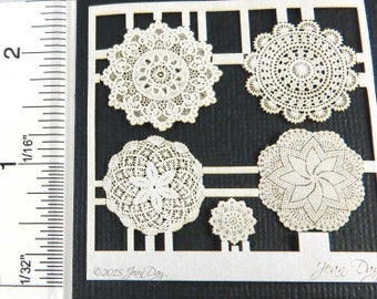 KIT 1:12 Laser Lace, Cotton Doily Grouping 4, LL008