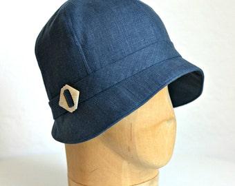 Women's Cloche Hat in Denim Blue Linen - 1920s Style Cloche - READY TO SHIP via 3 Day Priority