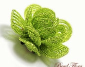 beaded brides apple green flower hair clip fascinator, French beaded flower - for the bride or bridesmaid, chartreuse