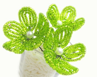 flower girl beaded flower hair pins, green apple blossom - for brides, bridesmaids, flower girls- lime citrus, Chartreuse disco