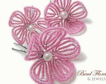 pink beaded flower hair pins, French beaded flower, flamingo pink, bridal, bridesmaid, flower girl