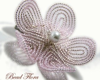 bridesmaids pink beaded flower hair clip fascinator, brooch pin, French beaded flower